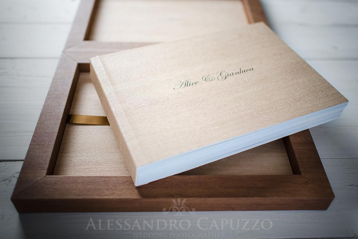 Fotolibro matrimonio shabby chic cofanetto legno acero