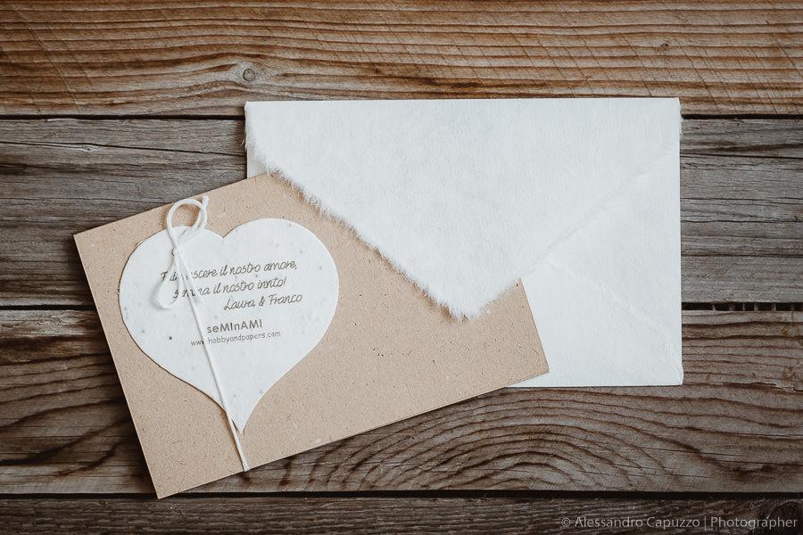 Partecipazioni matrimonio in carta cotone fai da te